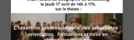 L'insertion professionnelle des urbanistes. Rencontre CNJU, Strasbourg, 17 avril 2014