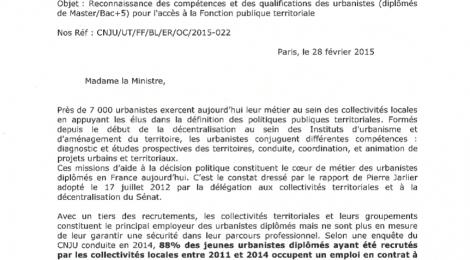 Accès des urbanistes à la Fonction publique territoriale : le courrier des présidents du CNJU et d'UT à Marylise Lebranchu